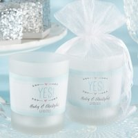 Personalized 'He Asked - She Said Yes' Frosted Glass Votives