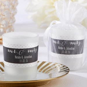 Personalized Mr & Mrs. Frosted Glass Votive image