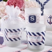 Personalized Nautical Shower Frosted Glass Votives