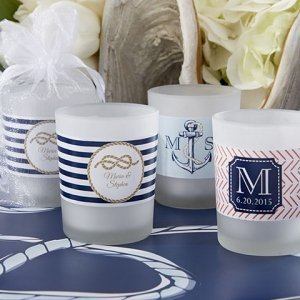 Nautical Themed Personalized Frosted Glass Votive Candles image