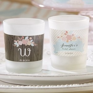 Personalized Rustic Bridal Shower Frosted Glass Votives image