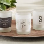 Rustic Themed Personalized Frosted Glass Votive Candles