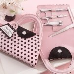 Manicure Favor Set in Pink Polka Dot Purse