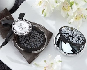 Black and White Damask Compact Mirror Favors image