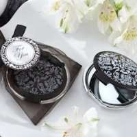 Black and White Damask Compact Mirror Favors
