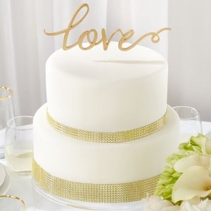 Love Gold Script Wedding Cake Topper image