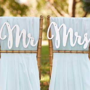 Silver Shimmer Classic Mr. and Mrs. Chair Backers image