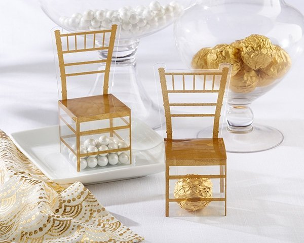 Gold Wedding Gift Box : Gold Chair Favor Box (Set of 24)