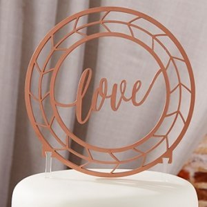 Geometric Copper Love Cake Topper image