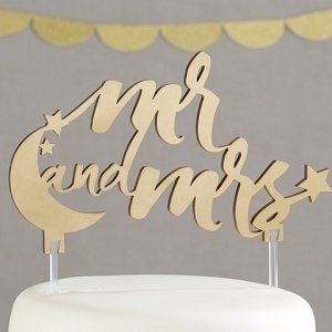 Under the Stars Mr. and Mrs. Cake Topper image