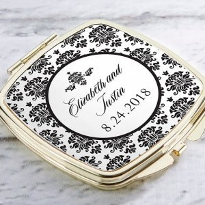 Personalized Damask Gold Compact Mirror Favors image
