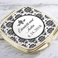 Personalized Damask Gold Compact Mirror Favors
