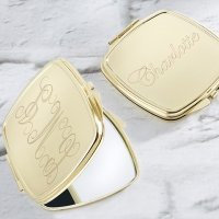 Personalized Engraved Gold Compact Mirror