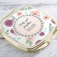 Personalized Bridal Floral Gold Compact Mirror Favors