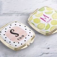 Personalized Monogram Gold Compact Mirror Favors