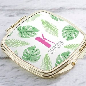 Personalized Pineapples and Palms Gold Compact Mirror Favors image