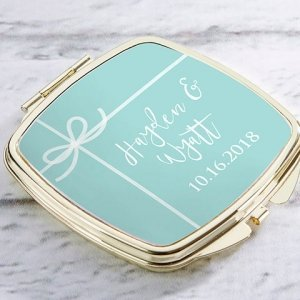 Personalized Something Blue Gold Compact Mirror Favors image