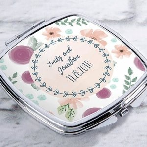 Personalized Bridal Floral Silver Compact Mirror Favors image
