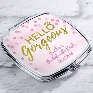 Personalized Hello Gorgeous Silver Compact Mirror Favors image