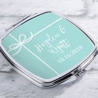 Personalized Something Blue Silver Compact Mirror Favors