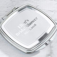 Personalized Silver Foil Silver Compact Mirror Favors
