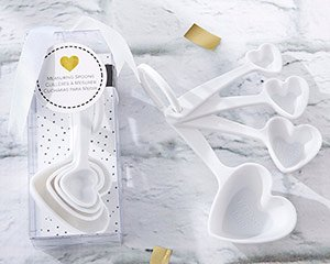 White Heart Plastic Measuring Spoon Favors image