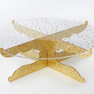 Gold Glitter Party Time Acrylic Cake Stand image