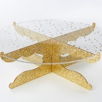 Gold Glitter Party Time Acrylic Cake Stand