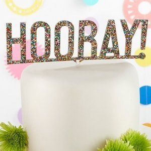 Hooray Multicolor Glitter Acrylic Cake Topper image