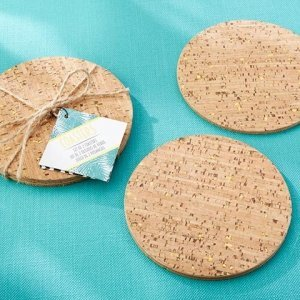 Tropical Chic Gold Glitz Cork Coasters (Set of 2) image