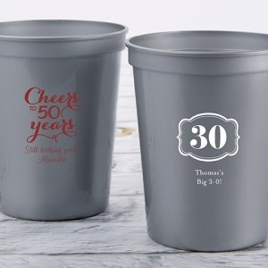 Personalized Milestone Birthday Stadium Cup Favors image