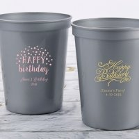 Personalized Happy Birthday Stadium Cup Favors