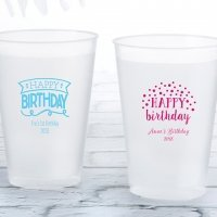 Personalized Happy Birthday Frosted Flex Cup Favors