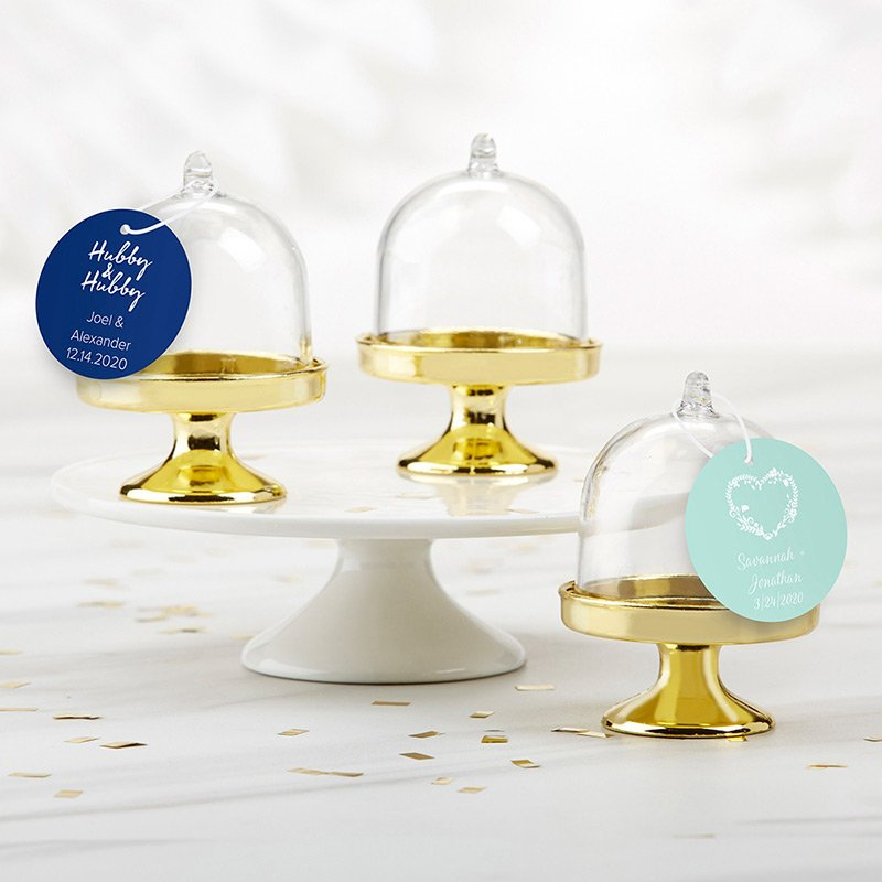 Personalized Wedding Small Gold Base Bell Jar (Set of 12) image