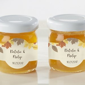 Personalized Fall Leaves Clover Honey Jar Favors (Set of 12) image