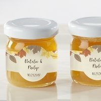 Personalized Fall Leaves Clover Honey Jar Favors (Set of 12)