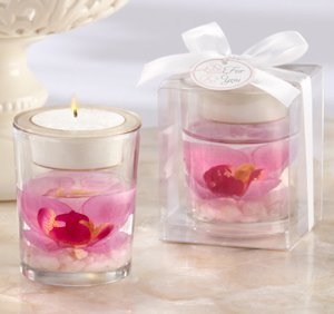 Glass Orchid Gel Candle Favors image