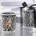 Black and White Damask Tealight Candle Holders (Set of 4)