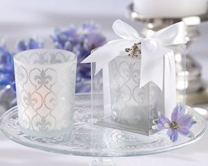 Fleur de Lis Frosted Glass Wedding Favor Candles (Set of 4) image