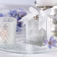 Fleur de Lis Frosted Glass Wedding Favor Candles (Set of 4)