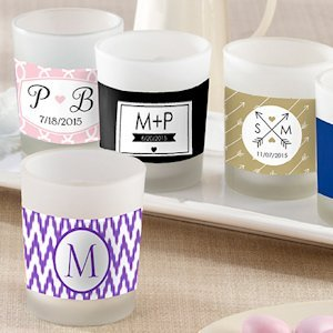 Personalized Glass Votive Candle Favors for Weddings image