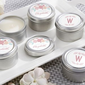 Personalized Rustic Candle Bridal Shower Favors image