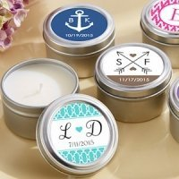 Personalized Candle Wedding Favor Tins