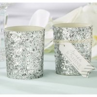 Sparkle and Shine Silver Glitter Votive (Set of 4)