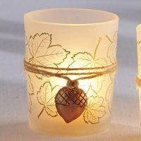 Leaf Print Candle Holder with Copper Acorn Charm (Set of 4)