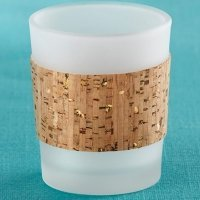 Tropical Chic Gold Glitz Cork Wrapped Tea Light Holders (Set
