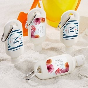 Personalized Botanical Design Sunscreen Bottle Favors image