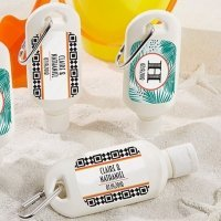 Personalized Tropical Chic Sunscreen Bottle Favors