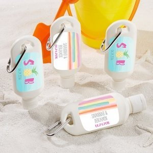 Personalized Pineapples and Palms Sunscreen Favors image