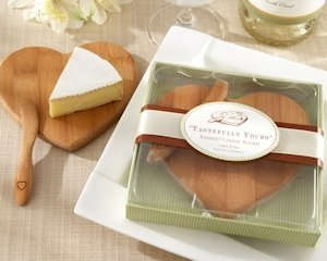 Eco-Friendly Heart Shaped Bamboo Cheese Board Favors image